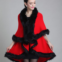 2015 Winter Fashion Long Sweater Women Imitation Fox Fur Collar Knitted Poncho Cardigan Lady Wool Sweater Coat