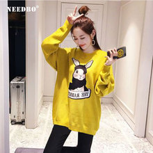 NEEDBO Hoodies Women Casual Long Sleeve and Sweatshirts Female Autumn Winter Sweatshirt Dress Cartoon