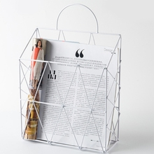 Органайзер для журналов, газет, Офисная корзина для мелочей, прямоугольная сетка, железный держатель для книг, промышленный стиль, домашний декор