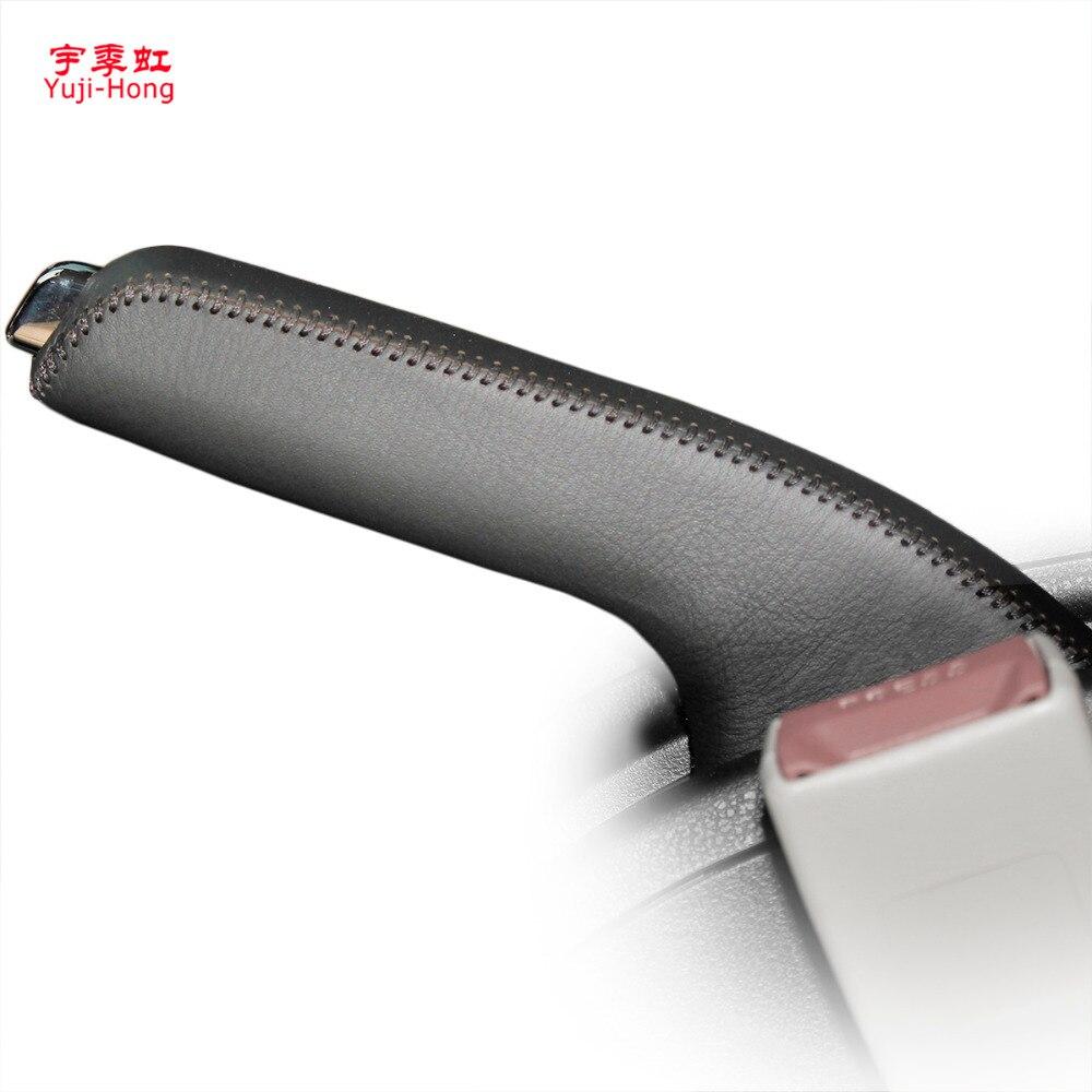 Yuji-Hong Car Handbrake Covers For Nissan Qashqai Auto Handbrake Grips Genuine Leather Cover Black/Red Thread
