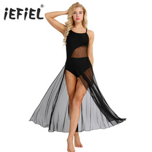 iEFiEL Womens Adult Spaghetti Strap Mesh Maxi Dancewear with Built In Gymnastics Leotard Ballerina Ballroom Dance Class Dresses