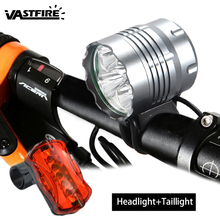 цена 10000Lm 5x XM-L T6 LED Cycling Lamp 3 Modes Bike Headlamp MTB Road Cycling Headlight Bicycle Accessories+Battery + Rear Light