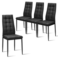 Set of 4 Kitchen Dining Side Fabric Cushion Chairs Black Morden Dining Room Chairs HW60370