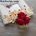 Hecho A Mano con encanto de la Hoja de Oro Triple Red Rose Flor de La Boda Nupcial Peines Del Pelo Accesorio Del Pelo de Las Mujeres Peine, envío Gratis