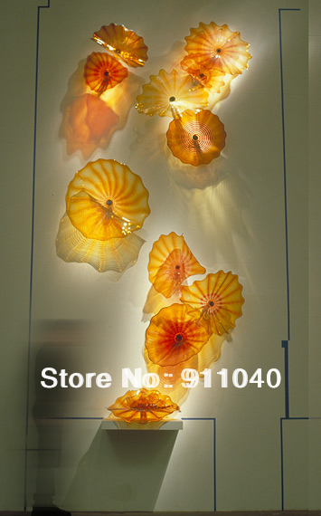Hot Sale Amber Blown Glass Wall Decor Art Murano Glass Chihuly Plate ...