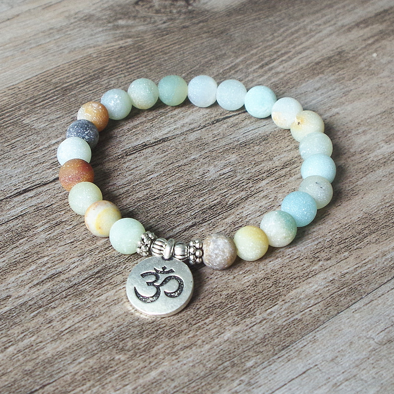 Matte Amazonite Stone Strand Bracelet Yoga Chakra Mala Bracelet OM Lotus Women Men Beaded Charm Bracelet