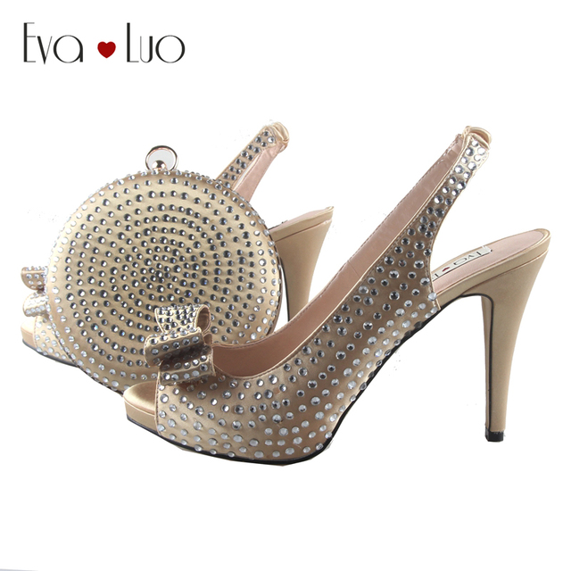 59fcb509a3 BS799 Custom Made Champagne Silver Crystal Bow African Women Shoes And Bag  Set Slingbacks Women Bridal Wedding Shoes Dress Pumps