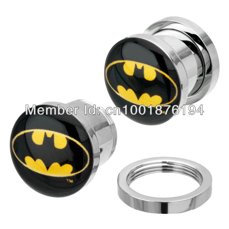 New Product 64pcs lot 316L Surgical Steel Screw Logo Batman body piercing jewelry ear plugs flesh