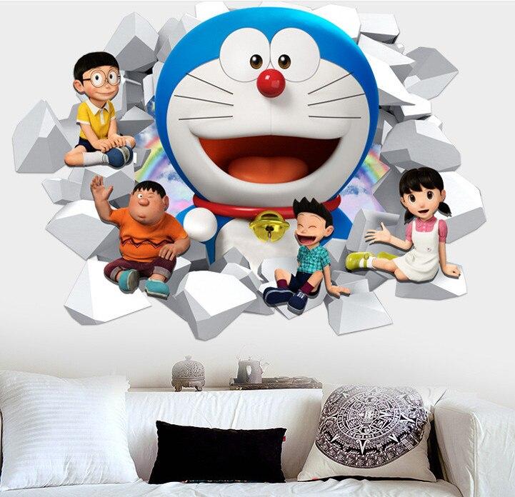 3D Doraemon Kartun Stiker Dinding Rumah Dekorasi Dinding Decals untuk Kamar Anak anak Hadiah TK Vinyl