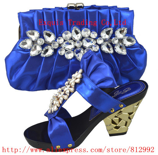 ФОТО 2014 Free shipping Pu leather matching shoes and bags italy sexy ladies dress shoes with bag,1308-L6 blue color