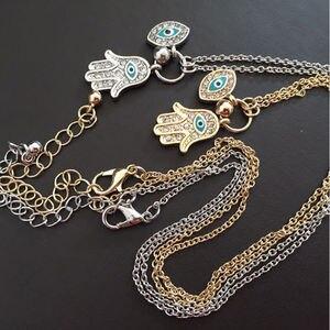 Модный классический Золотой/Серебряный цвет кулон синий сглаза Хамса рука, Фатима Пальма Шарм ожерелье для женщин мужчин высокое количество Jewely