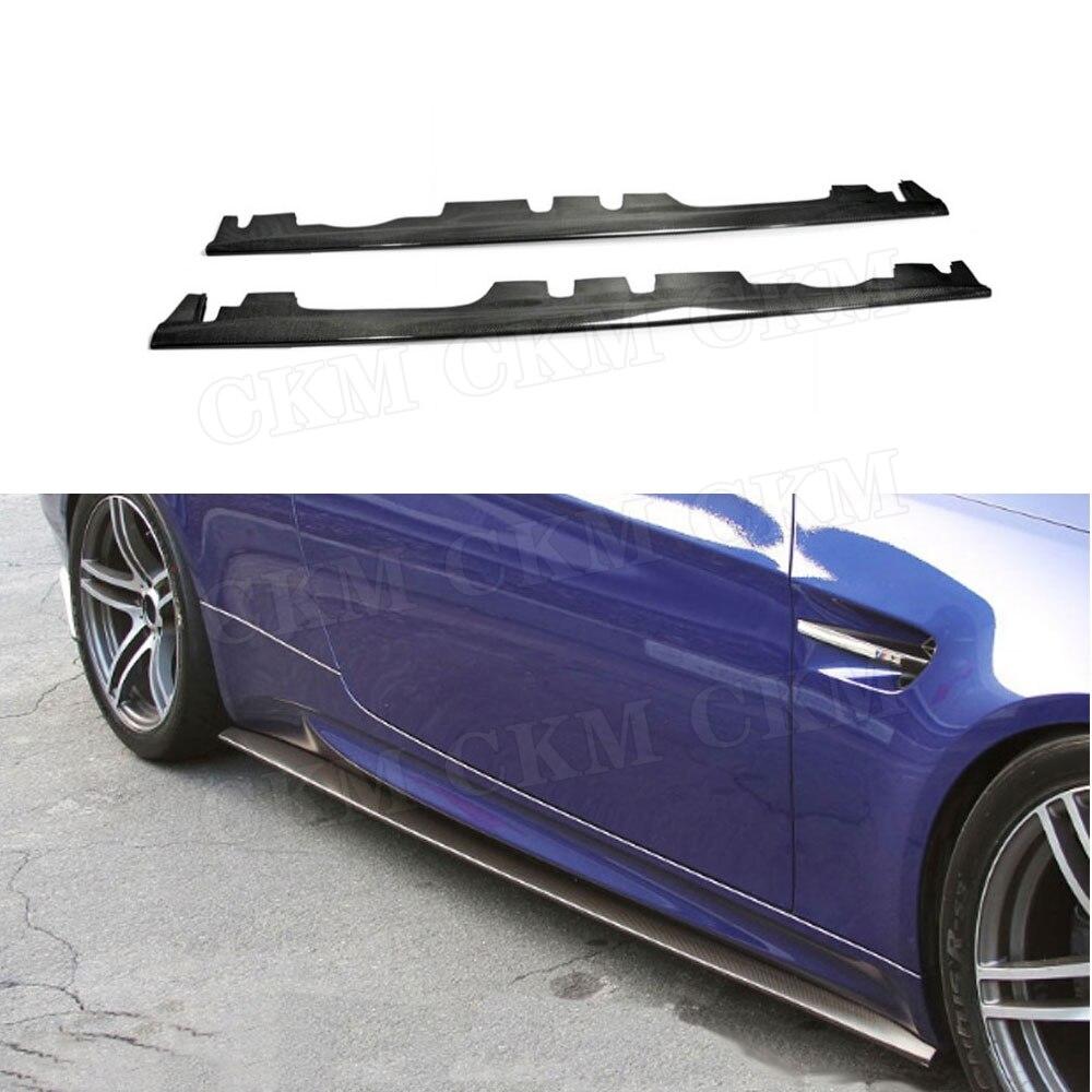 Série 3 Saias Laterais em Fibra de Carbono Porta Aventais Para BMW Série 3 E92 E93 M3 2008-2013 side Bumper peitoril protetor Tarja