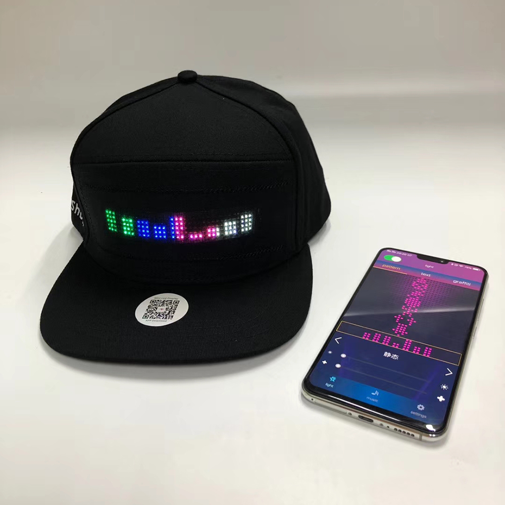 Wireless Bluetooth LED Hat LED Cap Scrolling LED Display Hat 12*48 Size Led Sign Internal External Led Message Sign LED Name Hat