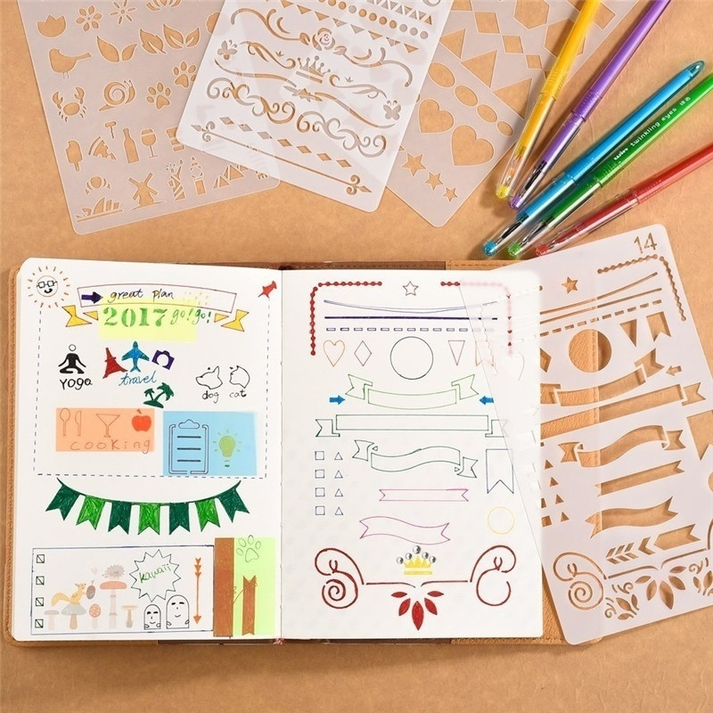 12pcs/set Creative Bullet Journal Stencil Plastic Planner Stencils Journal/Notebook/Diary/Scrapbook DIY Drawing Template Rule