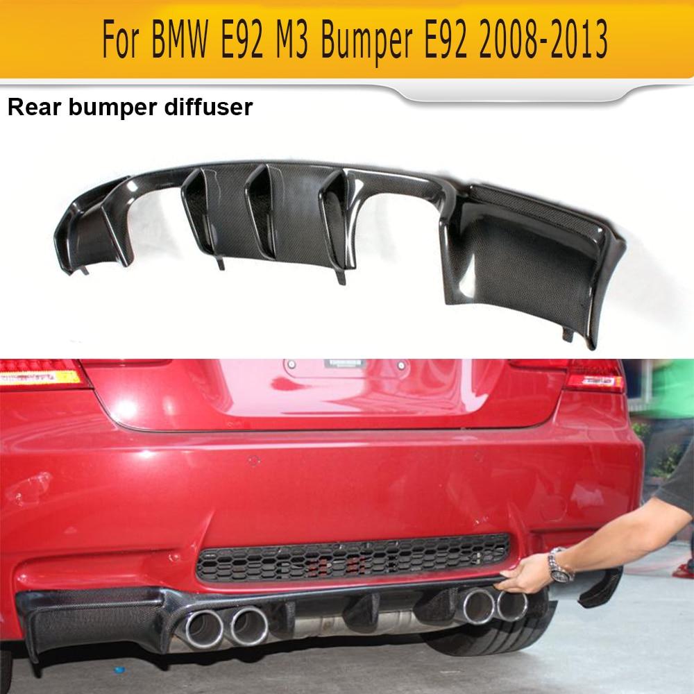 Carbon Fiber Add On Car Rear Bumper Lip Spoiler Diffuser for BMW E92 Coupe E93 Convertible M3 2008 2013 Non 4 Door Black FRP