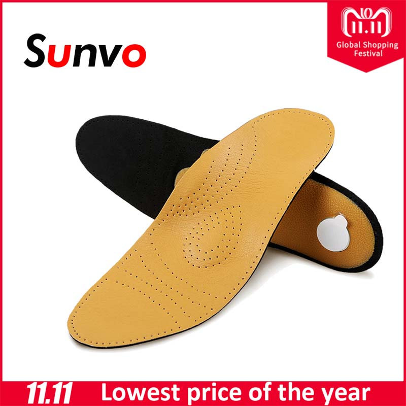 Sunvo Leather Orthotics Insoles for Flat Foot Arch Support Insert Shoes Pads Men Women Orthopedic Foot Health Care Insole Soles sunvo children orthotics insoles correction care tool for kid flat foot arch support orthopedic insole soles sport shoes pads
