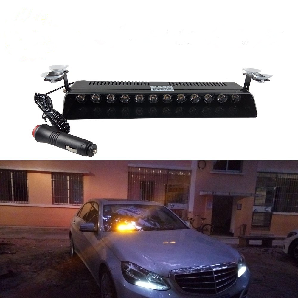 12 LED Strobe Flash Warning Light Windscreen Car Light Flashing Firemen Fog Emergency Vehicle Lights DC12V