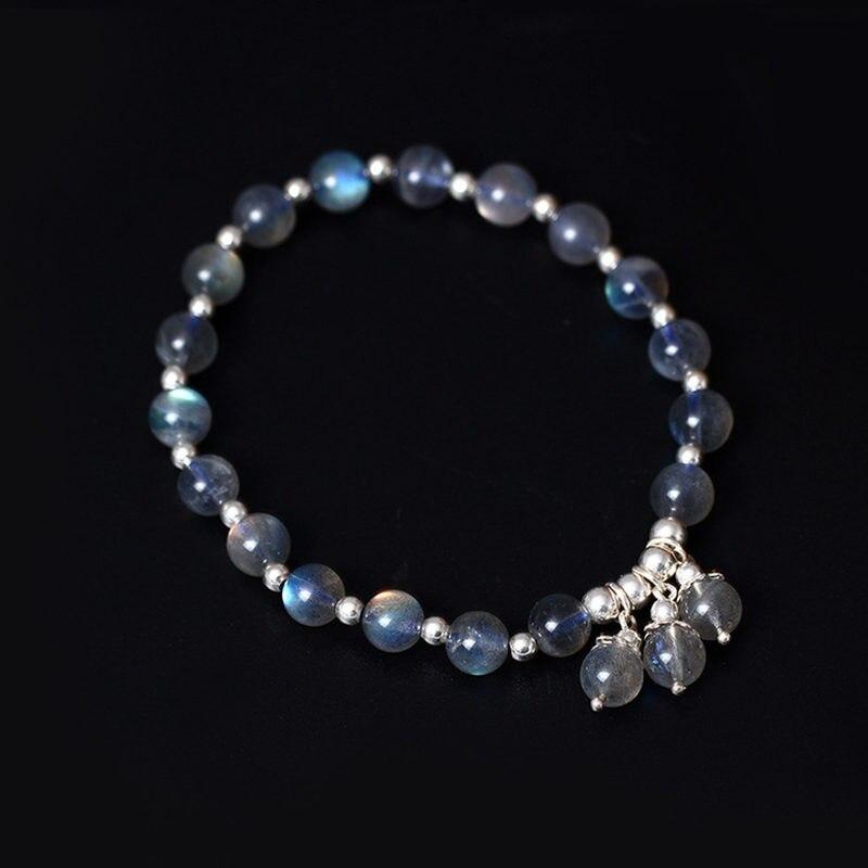 Натуральный лунный камень с серебром 925 браслет из бисера для Для женщин Элегантные Простые Стиль изделия стерлингового серебра 925 Оригинал...