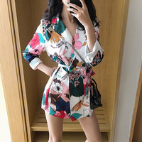 2019 New Korean Vintage Floral Print Blazer Women Notched Collar Long Sleeve Sashes Jackets Coat Casual Outerwear Feminine Chic