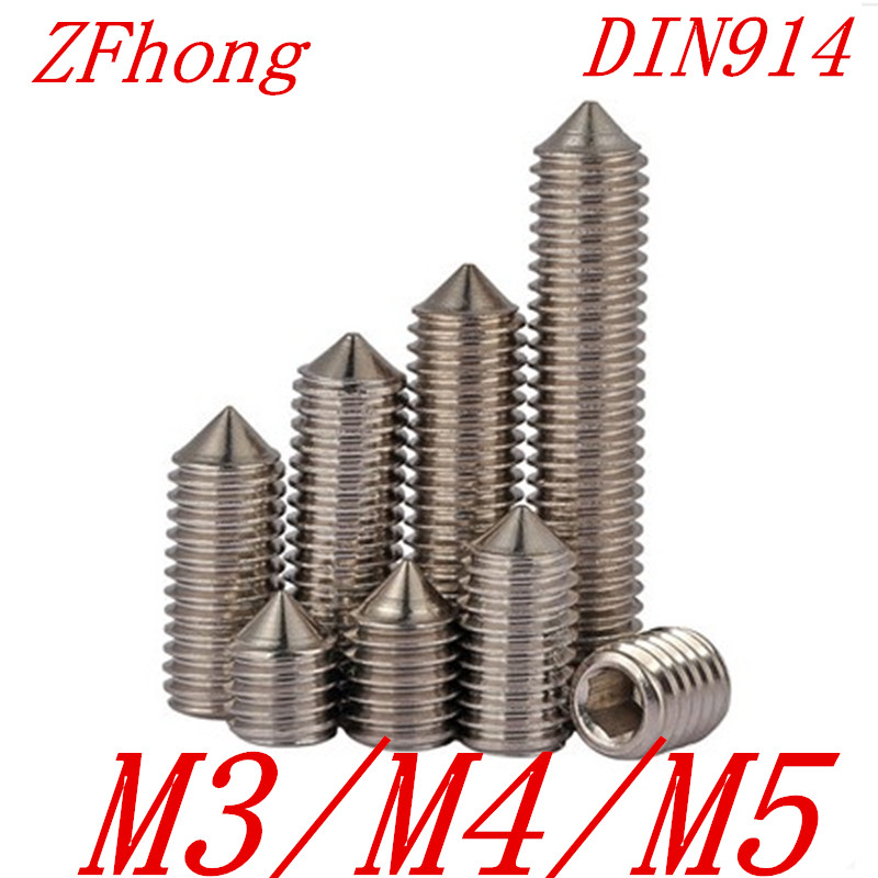 50pcs M3 M4 M5 DIN914 Stainless Steel Hex Socket cone point set screw накладки на ручки fulajimi m3 m5