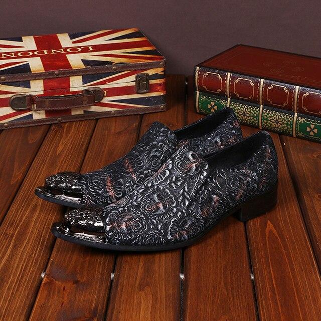 3781e5dfd Moda masculina Red Colorido Floral Impresso Homens Oxfords Sapatos de  Casamento Sapatos de Couro Genuíno Handmade