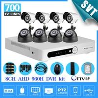 8ch 960h AHD Cctv Video Surveillance Security Camera System 8pcs 700tvl Indoor Outdoor Night Vision Camera