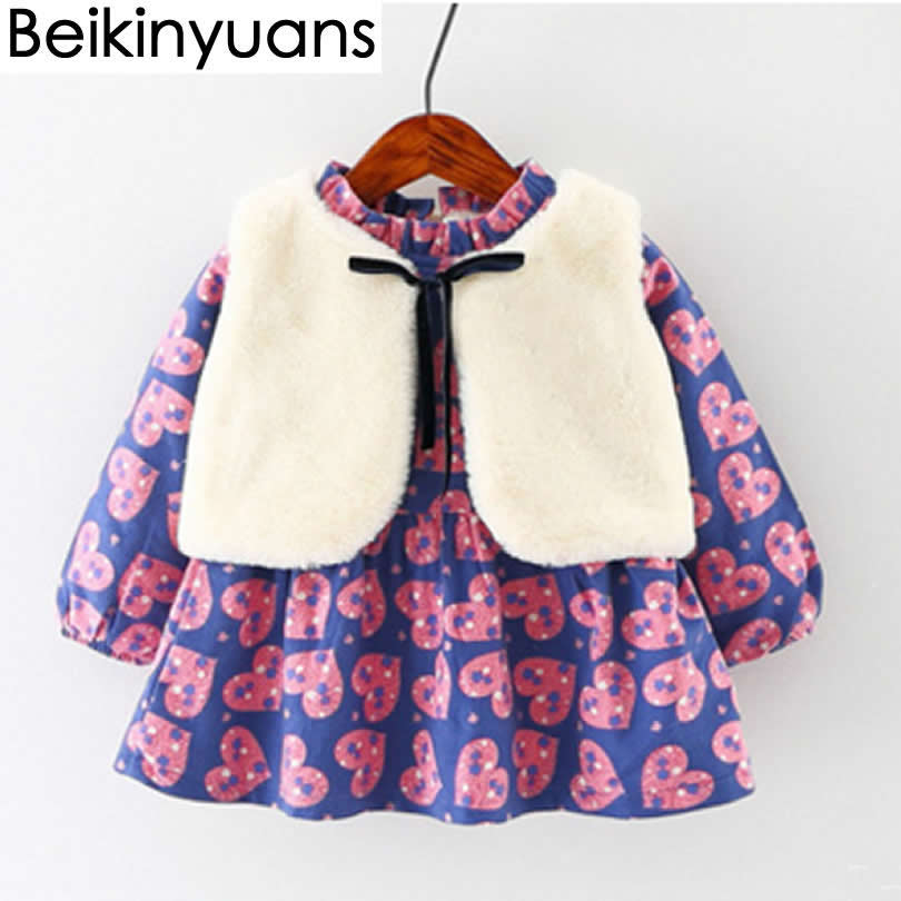 Girls Dresses Long-sleeved Velvet Vest two-piece Baby Princess Dresses Girls Clothes Cotton Winter Warm Toddler Clothing