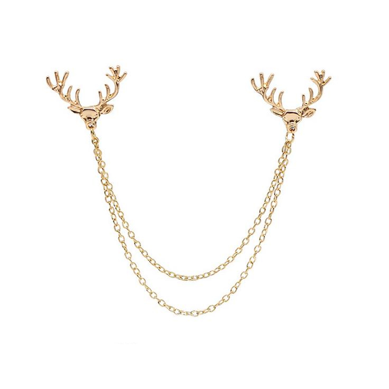DoreenBeads Elk Antlers Horns Badge Animal Brooch for Women Men Suit Shirt Collar Decoration Fashion Garment Ornaments Christmas
