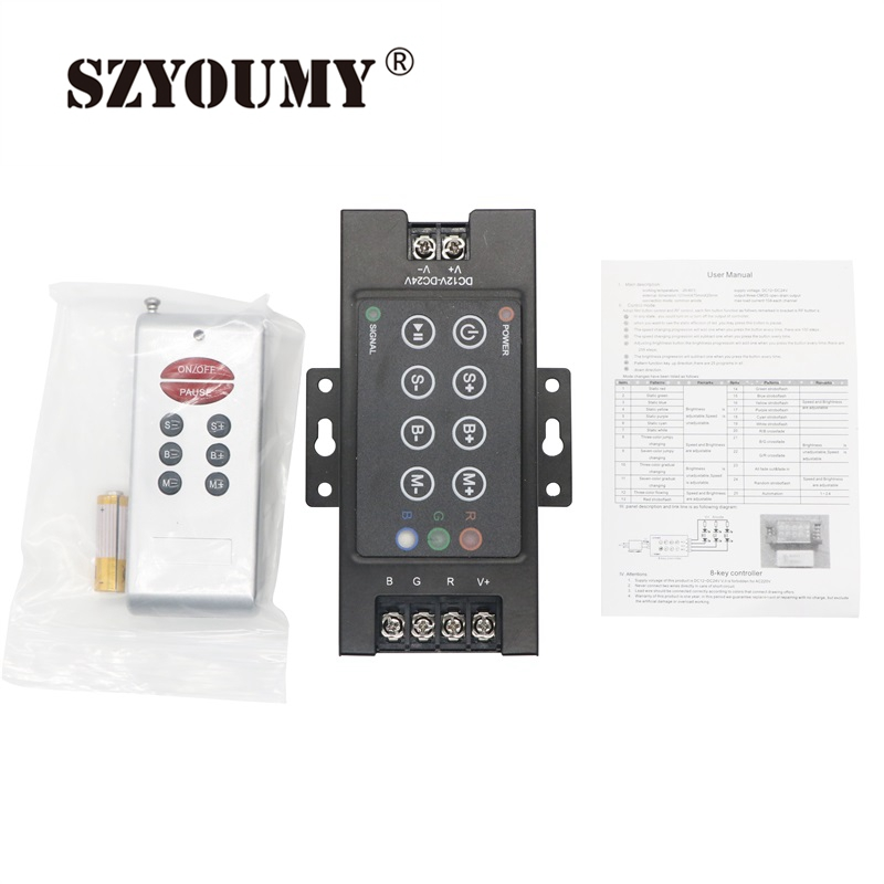 Design; Audacious Szyoumy Free Shipping Wireless Panel Led Rgb Controller Rf 8 Key Rgb Led Controller With 12v Swithing Power Supply Novel In