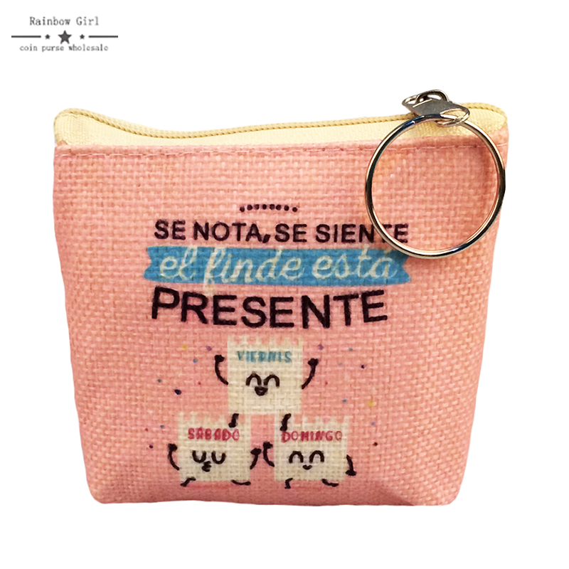 6pcs 2017 High Quality Linen PU Leather coin purse child girl women change purse Wholesale Price lady zero wallet coin bag