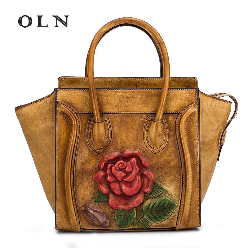 OLN Brand Genuine Leather Women Handbag Flowers Printed Cow Leather Shoulder Bag Fashion Design Top Handle Trapeze Women Bag esufeir brand genuine leather women handbag cross pattern cow leather shoulder bag fashion design top handle trapeze women bag
