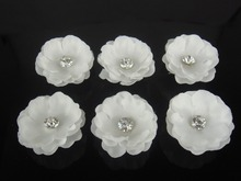 120 Pcs White Cloth Flower Wedding Prom Crystal Rhinestone Hair Pins Twister Hair sticks Hair Clips Free Shipping