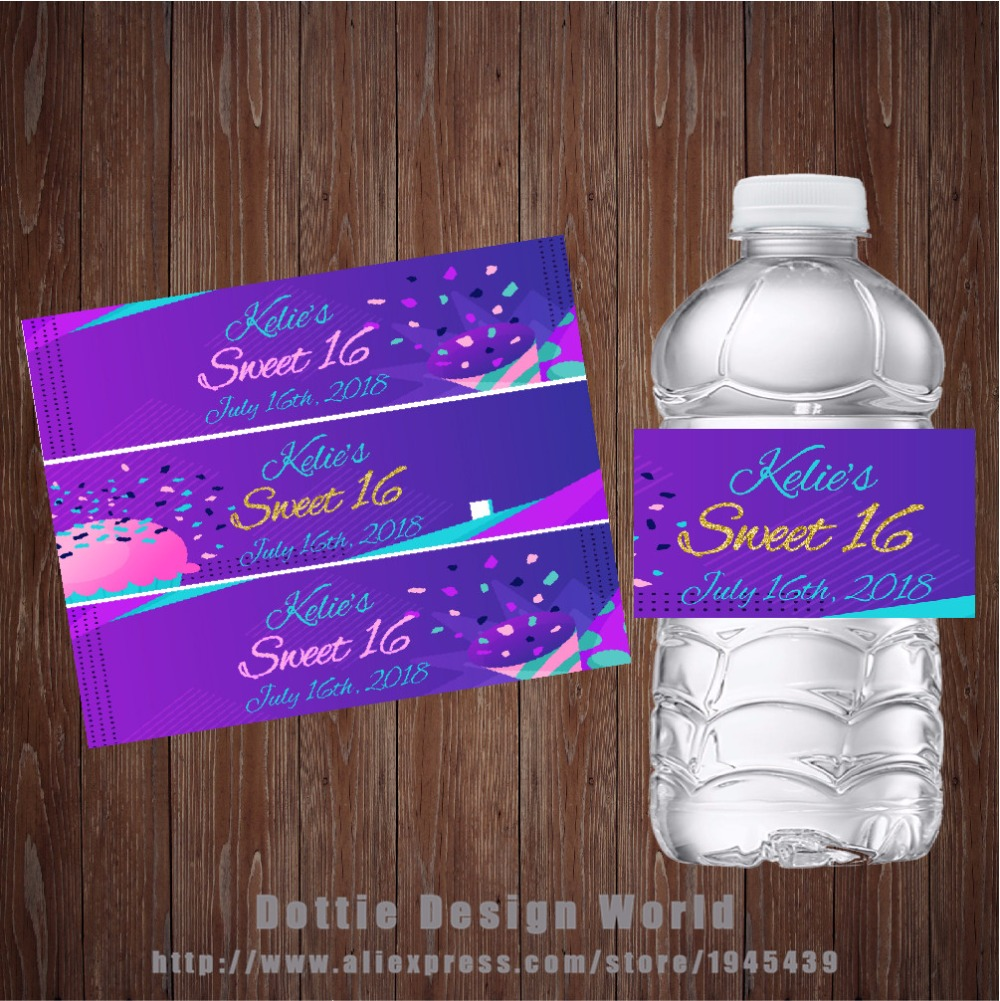 Us 8 09 40 Off 20 Pcs Lot Sweet 16 Sixteen Purple Water Bottle Labels Candy Bar Wrapper Sweet 16 Birthday Party Favor Decoration Sticker Gifts In