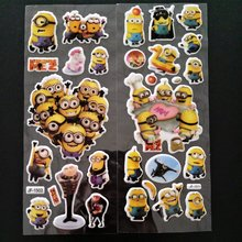 6PCS / lot Minions Party Supplies Mixed Cartoon Bubble Stickers Children Kids Crtoon Stickers Decoration Birthday Gift