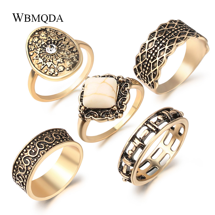 MARRLY.H Unique Gray Crystal Rings for Women Antique Silver Color Punk Rock Ring Retro Jewelry Party Gift