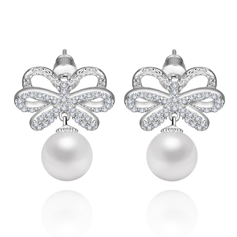 Pearl dang Earrings With Zircon Element Earrings for Girls silvery ...