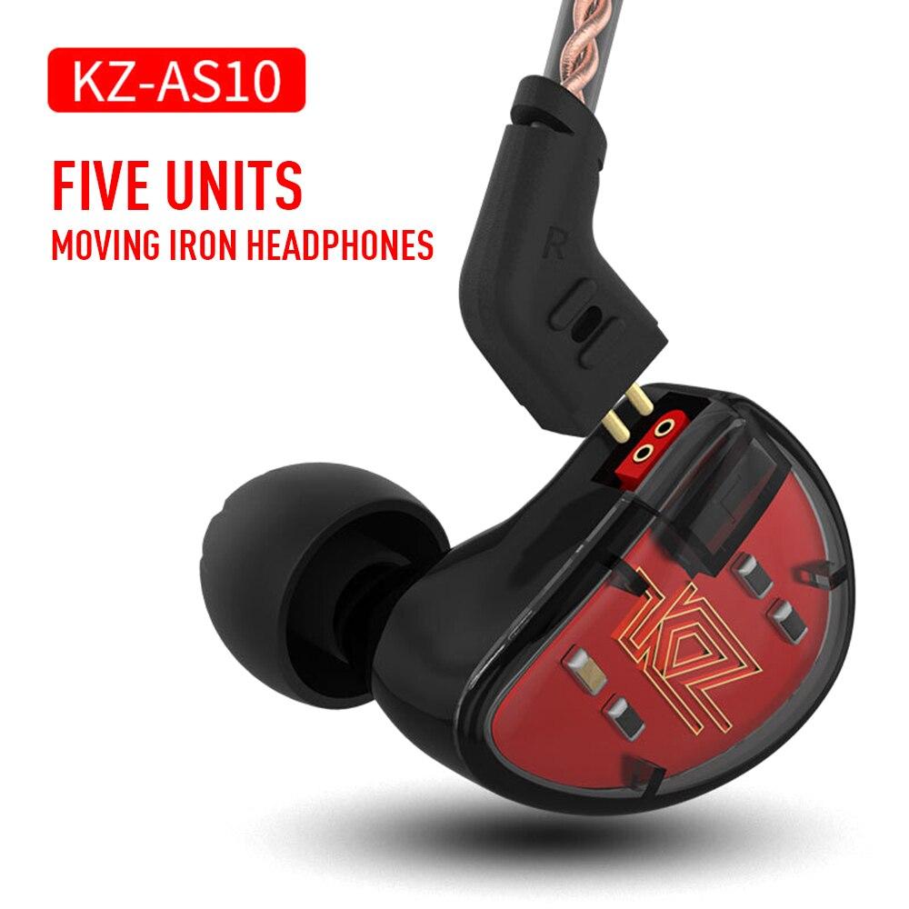 KZ AS10 écouteur de fer en mouvement dix unités dans l'oreille musique écouteur Balance en mouvement fer sport musique 3.5mm câble casque de haute qualité