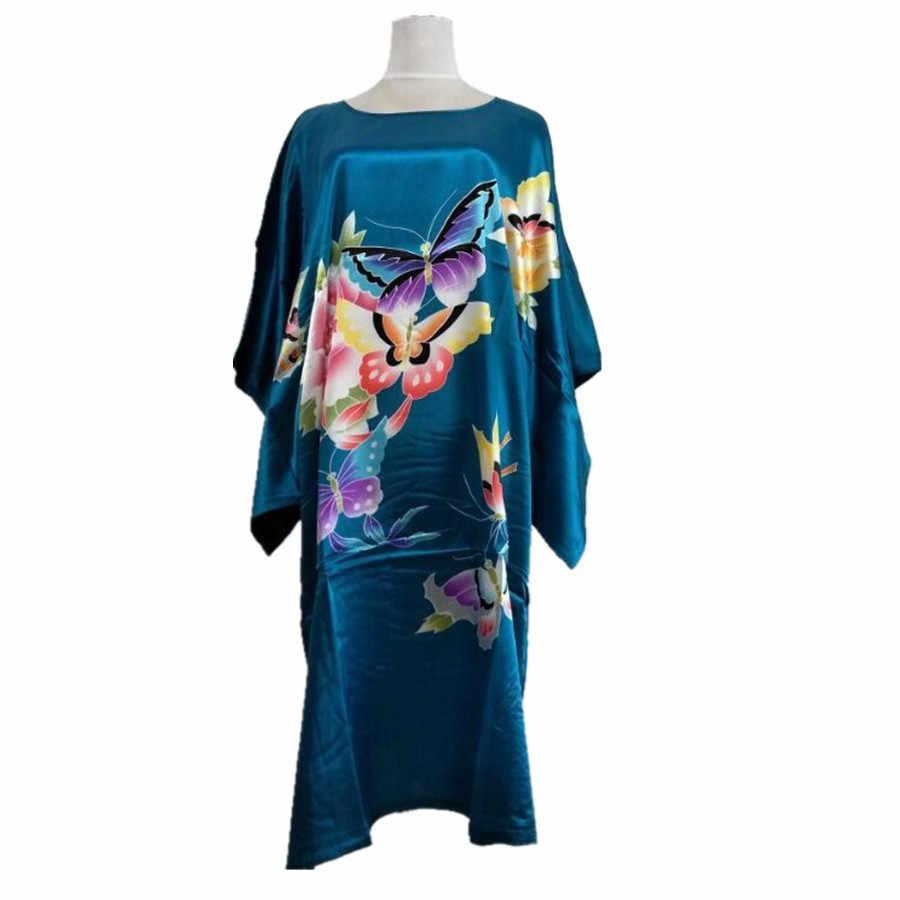 7693d230d80 Подробнее Обратная связь Вопросы о Новое поступление Голубое озеро  китайский для женщин шелк халат из вискозы платье пикантные летние с  цветочным принтом ...