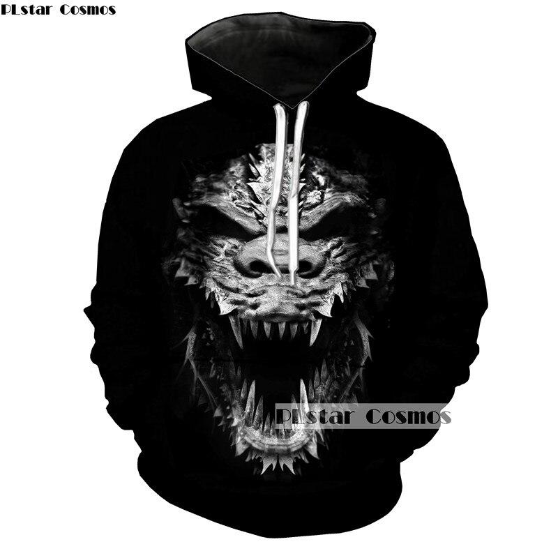 PLstar Cosmos Unsex Sweatshirt Casual Horror Ogre Ghost Terror Monster Paint Pullovers Women Men Hoodies 3D Painting Hoody Tops