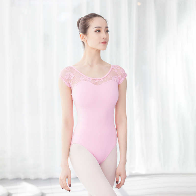 Leotardos de ballet y gimnasia malla bailarina adulto de manga corta de encaje Leotardos de baile ballet Ropa de baile ballet mujer danza leotardo