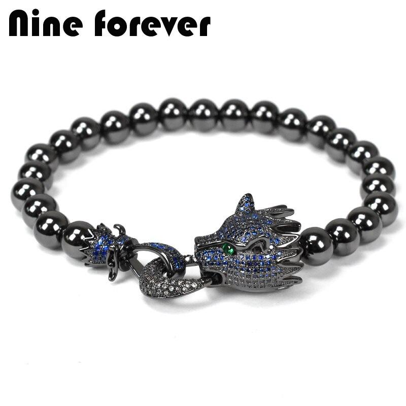 Nine forever Leopard charms Bracelet men jewelry copper beads Bracelets & bangles pulseira masculina bileklik