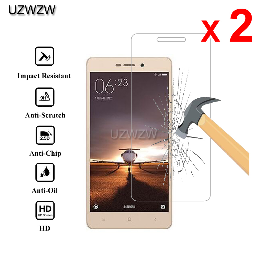 2pcs Glass For Xiaomi Redmi 3 / Redmi 3s / Redmi 3 Pro Premium 2.5D 0.26mm Tempered Glass Screen Protector Protective Film Glass