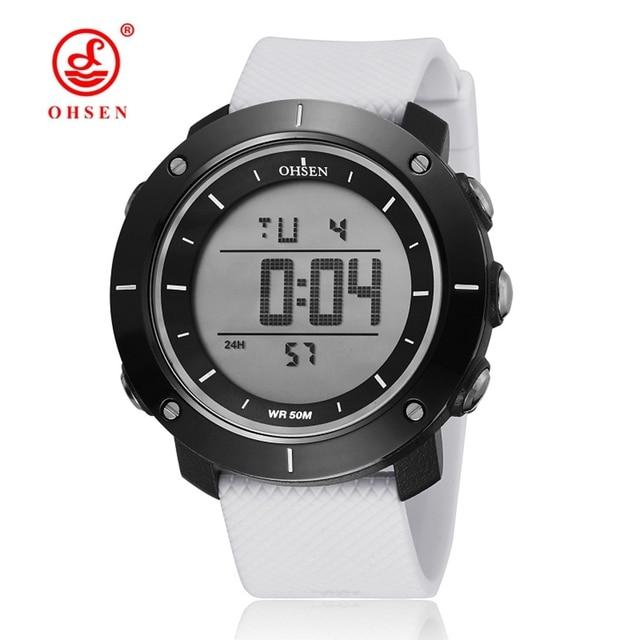 7e9099c5108 OHSEN Unisex Grande Display LED Militar Relógios Das Mulheres Digitais À  Prova D  Água Esportes