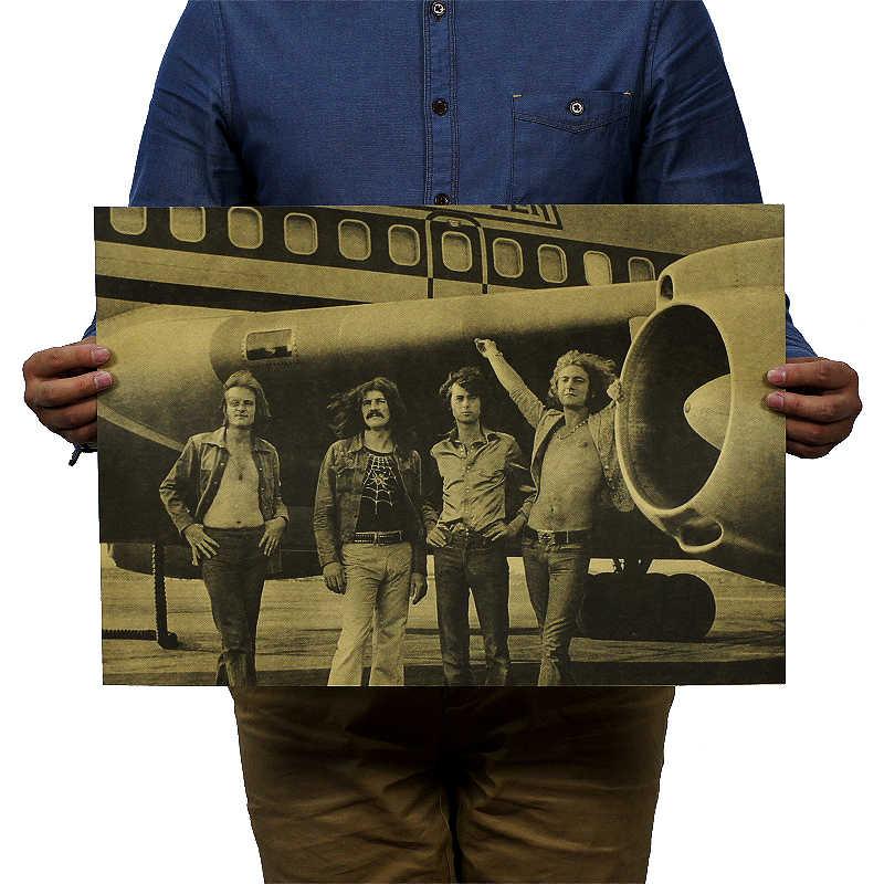 DLKKLB נוסטלגי רוק להקת קראפט נייר מוסיקה קפה בר פוסטר רטרו פוסטר דקור ציור 51x36cm רוק הוא לא מת קיר מדבקה