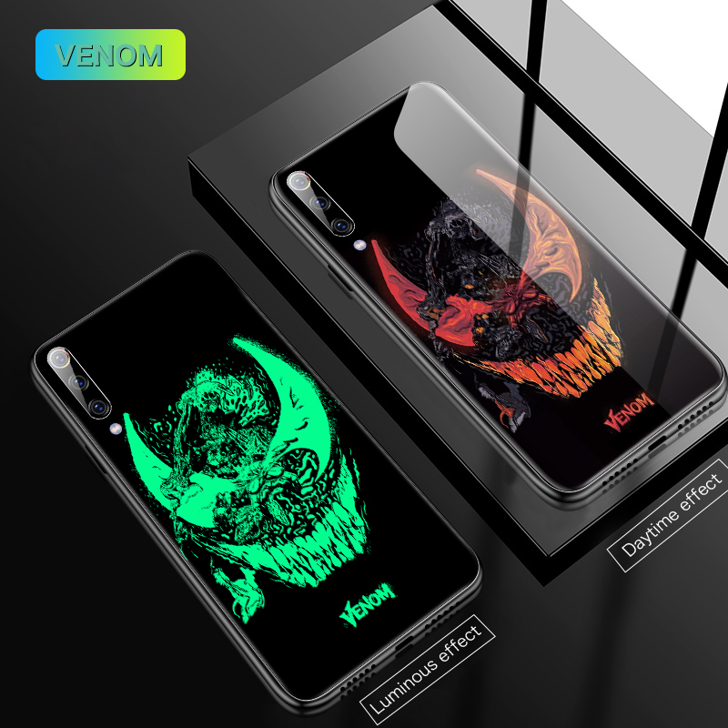 Image 2 - Marvel Iron Man Venom Luminous Glass Phone Case For Xiaomi Mi 8 9 SE F1 Lite Redmi Note 4 5 6 7 8 Pro Plus Captain America Cover-in Fitted Cases from Cellphones & Telecommunications