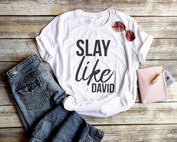 Mata David cristiana camisetas para las mujeres moda camisas Biblia verso camisas nuevo estilo de verano caliente venta unisex de algodón camisa superior