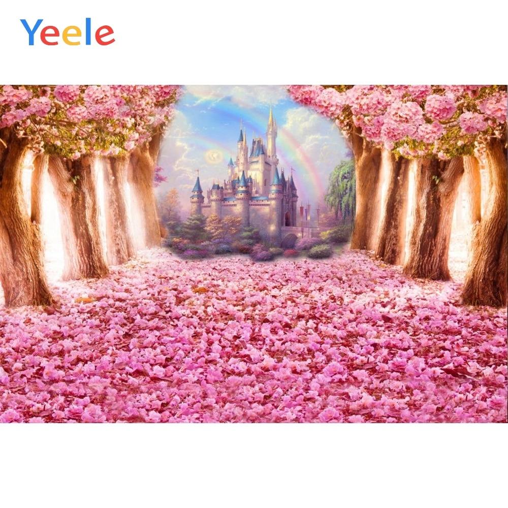Yeele Fairy Tale Vinyl Photography Backgrounds Flowers Castle Newborn Children Birthday Party Backdrops Custom for Photo Studio