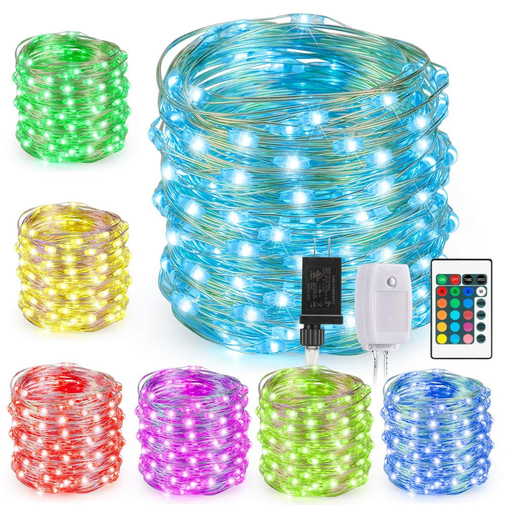 Kohree US Plug Led String Lights 12m120leds Fairy Lights Silver Wire For Christmas Holiday Outdoor Decor 16 Multi Color Changing