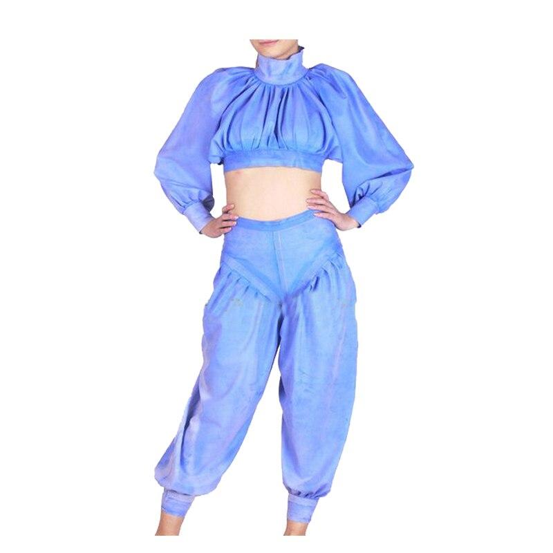 Latex caoutchouc femmes Sexy veste et pantalon ensemble princesse lanterne manches costume taille XXS-XXL