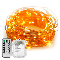 5M 10M Remote Control Waterproof Battery Operated 8 Mode Timed Dimmable Copper Wire Firefly String Lights